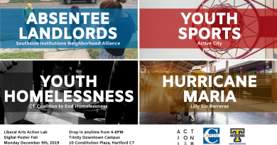 Invitation to 12/9 Action Lab Digital Poster Fair: Hurricane Maria, Youth Homelessness, Absentee Landlord, and Youth Sports